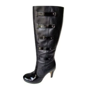 Franco Sarto Black Leather Heeled Boots Size 10M